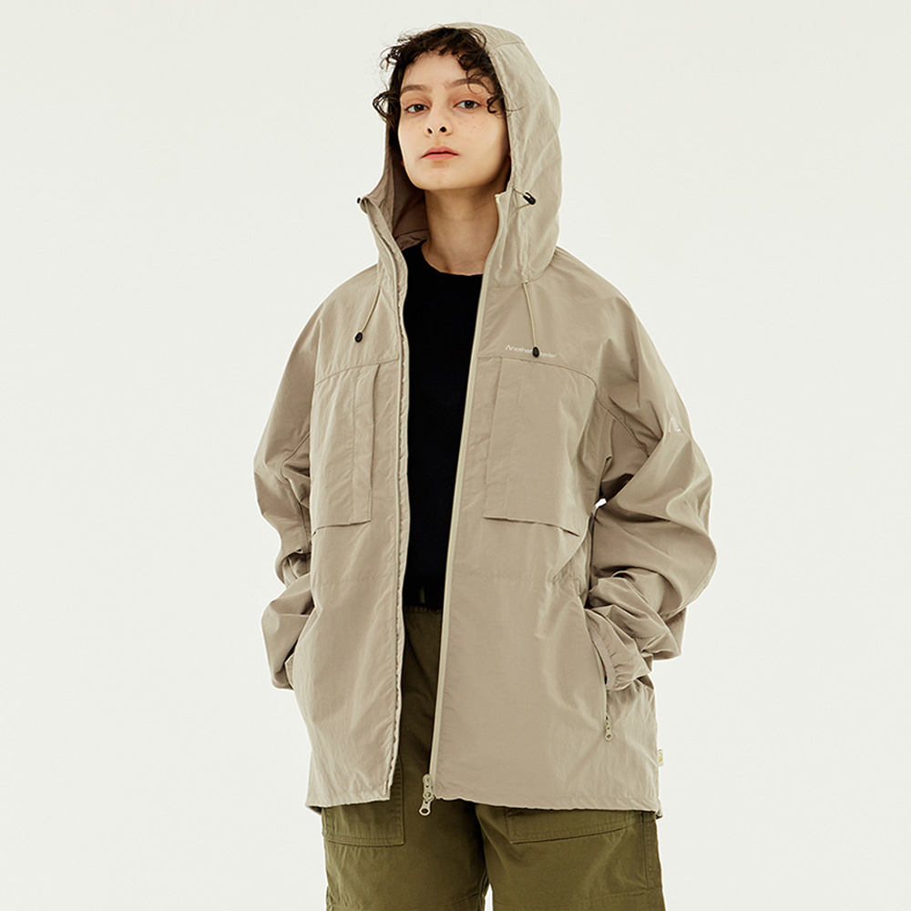 Poket Zip-up Windbreaker (Beige)
