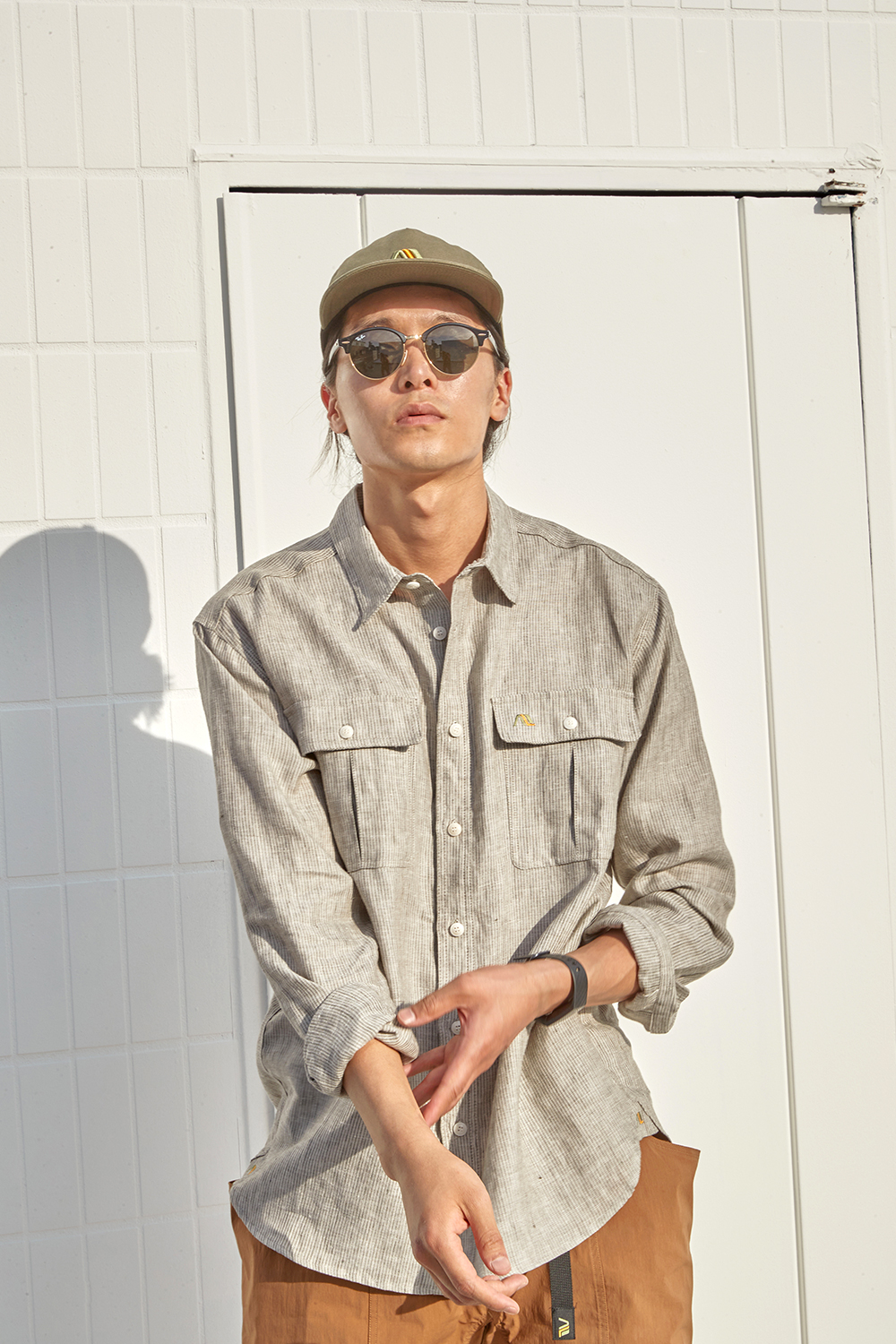 어나더리더(ANOTHER LEADER) Leader Linen shirts(Khaki)