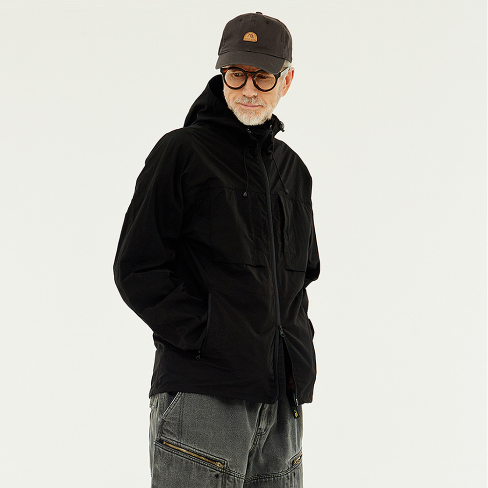 Poket Zip-up Windbreaker (Black)